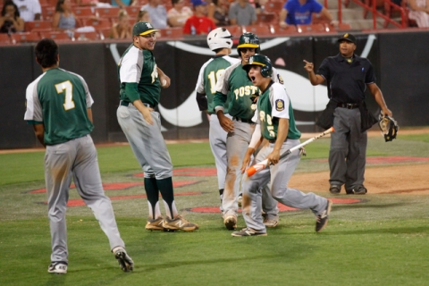 Rancho players celebrate after taking the lead over the Las Vegas Titans in the American Leg ...