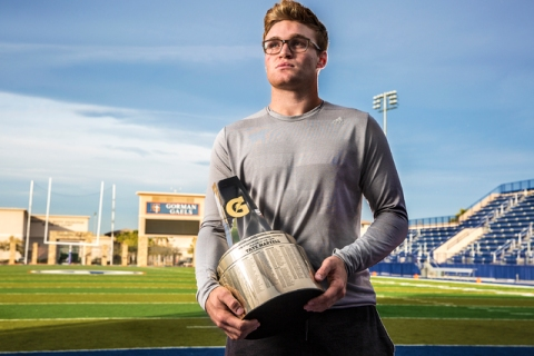 Gaels senior quarterback Tate Martell learned he was named Gatorade National Player of the Y ...