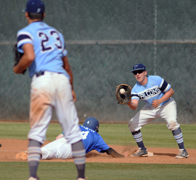 Foothill pitcher Nick Cardinale (23) attempts to pick off Green Valley's Keaton Smith ...