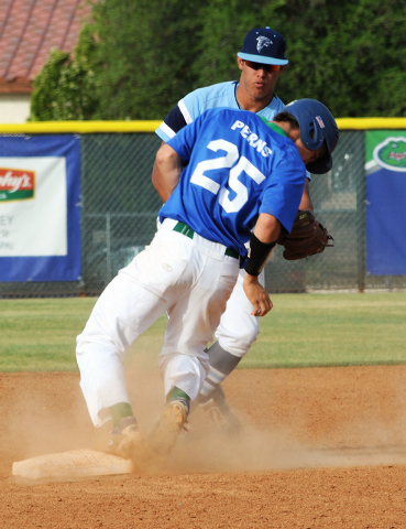 Green Valley's Jarrett Perns steals second as Foothill's Bligh Madris looks on i ...