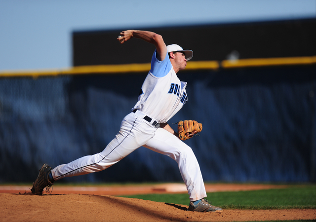 Centennial starting pitcher Kyle Horton delivers Shadow Ridge in the fifth inning of their p ...