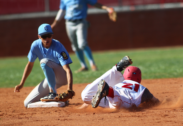 Centennial's Jacob Horton, left, looks to tag out Arbor View's Gabe Gonzales at ...