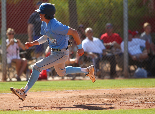 Centennial's Ricky Koplow scores a run against Arbor View during the Sunset Region bas ...