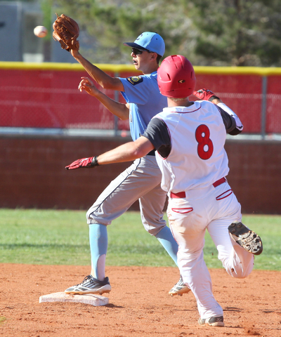Centennial's Jacob Horton forces Arbor View's Kevin Johns (8) at second in the S ...