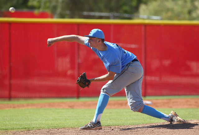 Centennial's Will Loucks pitches against Arbor View in the Sunset Region baseball tour ...