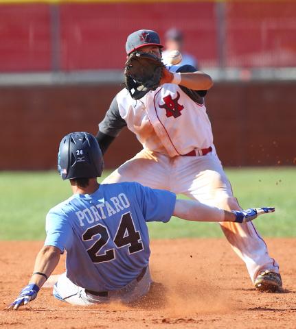 Centennial's Jake Portaro (24) slides safely into second base as Arbor View's Ni ...