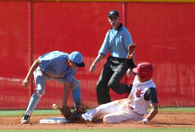 Centennial's Kyle Horton, left, loses the ball as Arbor View's Nick Quintana sli ...
