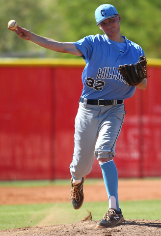 Centennial pitcher Will Loucks throws to first while against Arbor View in the Sunset Region ...