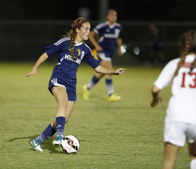 Shadow Ridge's Joey Wright (0) moves the ball up the field against Arbor View during t ...