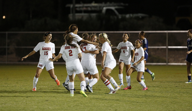 Arbor View players celebrate after a goal during the Sunset Region semifinals on Thursday. T ...