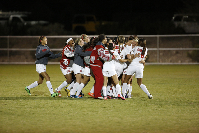 Arbor View celebrates its 2-1 win over Shadow Ridge in the Sunset Region semifinals on Thurs ...