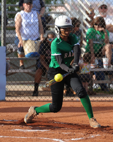 Rancho's Tiare Lee checks her swing during her at-bat in the second inning of the Sunr ...