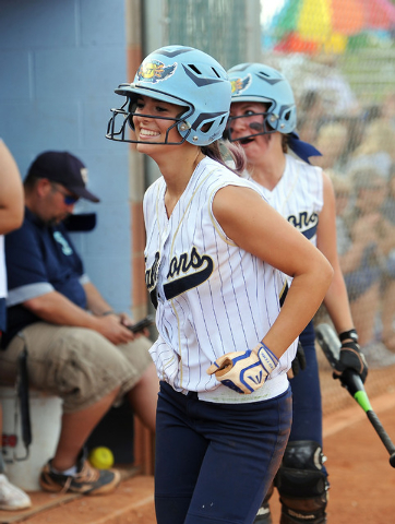 Foothill's Katelyn Enzweiller smiles after scoring the go-ahead run in the fourth inni ...