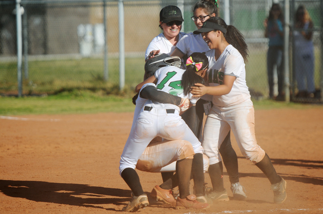 Players from Rancho celebrate a 3-2 win over Coronado on Wednesday in the Sunrise Region tou ...