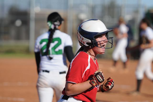 Coronado's Lauren Buck (3) celebrates her team's tying run in the seventh inning ...