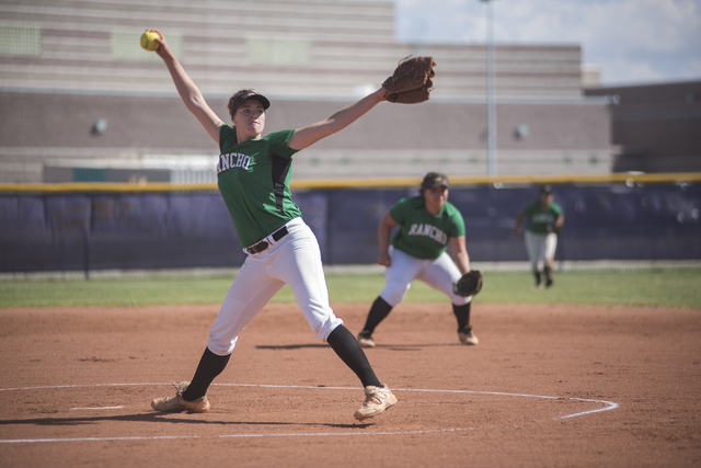 Rancho's Samantha Pochop (72) pitches against Silverado during the first round game of ...