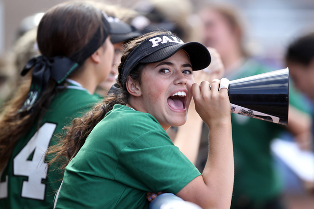 Palo Verde's Cara Beatty cheers from the dugout during her team's seven-run thir ...