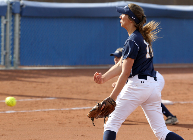 Shadow Ridge pitcher Shelbi Denman throws against Palo Verde in the first inning of their Su ...