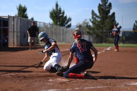 Coronado's Sarah Pinkston (17) tags out Foothill's Sarah Pinkston (12) at home p ...
