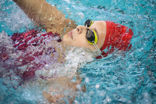 Arbor View's Ashley Collins swims the 200-yard individual medley race at the Sunset Re ...