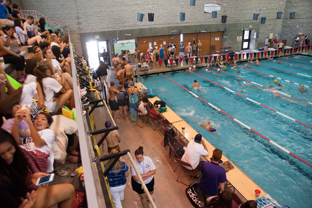Racers warm up and fans wait for the start Sunset Region meet on Saturday at UNLV. (Martin S ...