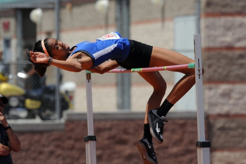Vashti Cunningham of Bishop Gorman clears 6 feet, 4 inches to win the high jump in the Sunse ...