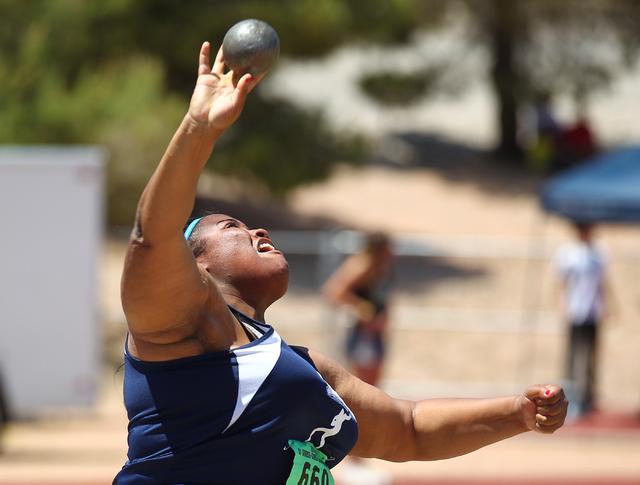 Liberty's Ashlie Blake competes in the girls shot put event Saturday. Blake set a Sunr ...