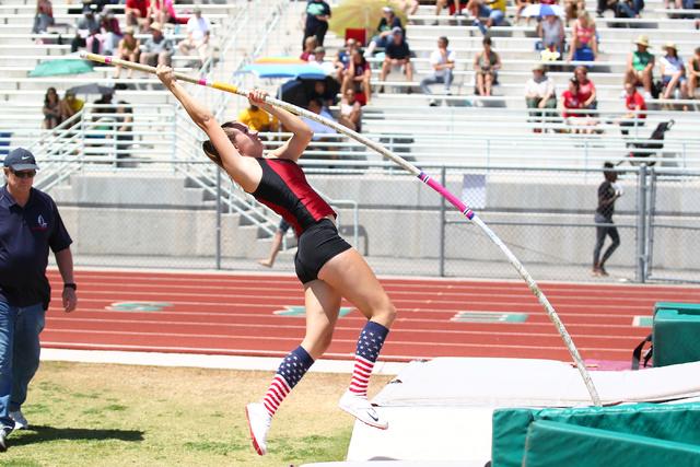 Desert Oasis' Cassidy Motis competes in the Sunset Region girls pole vault on Saturday ...