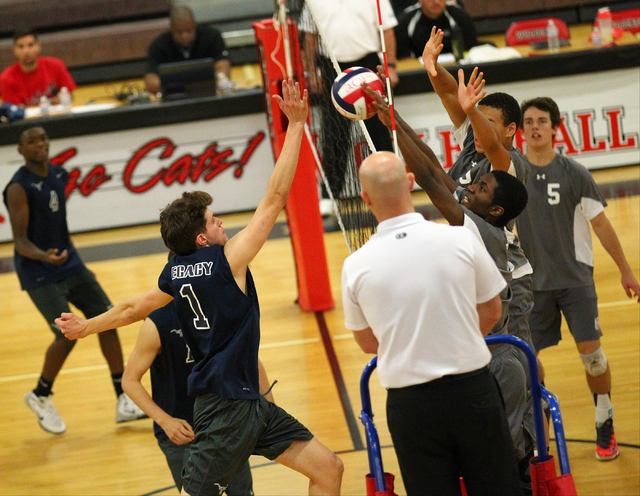 Legacy's Tanner Compton (1) sends the ball over the net against Arbor View during a Su ...