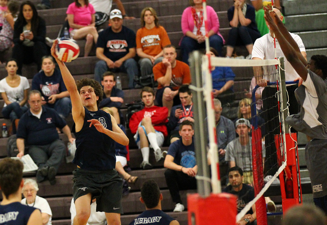 Legacy's Trent Compton (8) goes for a kill against Arbor View during a Sunset Region b ...