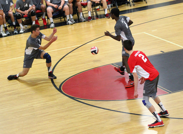 Arbor View players, from left, Nick Kastenholz, Darien Bradley, and Peter Peck can't d ...