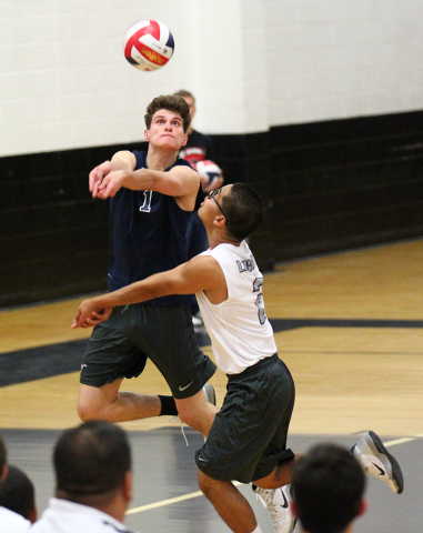 Legacy's Tanner Compton (1) and Anthony Cabrera (2) look to receive the ball from Arbo ...