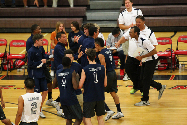 Legacy players react after defeating Arbor View 3-1 in a Sunset Region boys volleyball semif ...