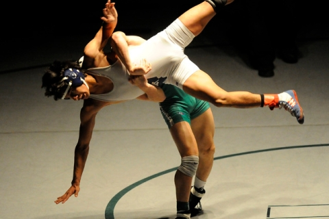 Green Valley's Sean Cannon slams Liberty's Michael Martinez to the mat during th ...