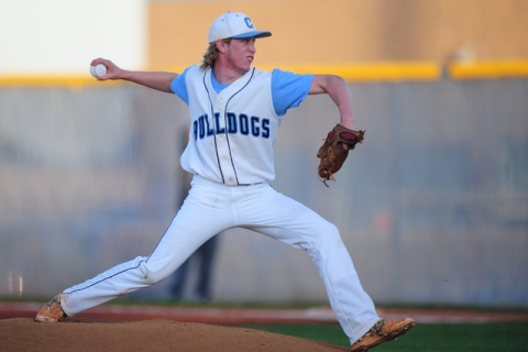 Centennial starting pitcher Jake Rogers delivers to Cimarron-Memorial in the first inning of ...