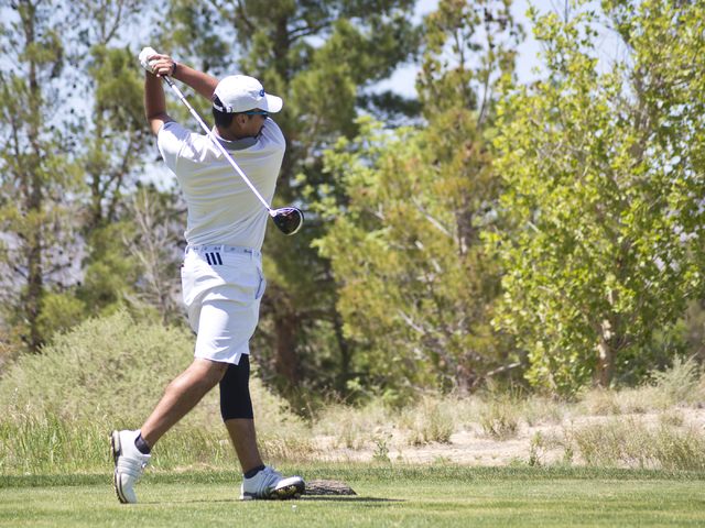 Coronado's Ethan Bozner hits his ball during the Sunrise Region boys golf tournament a ...