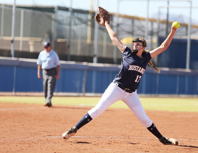 Shadow Ridge's Tana Feiner pitches during a first round of the Sunset Region tournamen ...