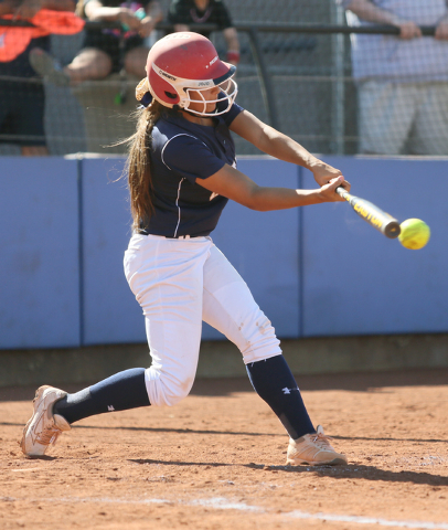 Shadow Ridge's Joryan Brewer takes a swing during Tuesday's Sunset Region first- ...