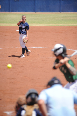 Centennial's Maddie Jones pitches against Palo Verde in the Sunset Region championship ...