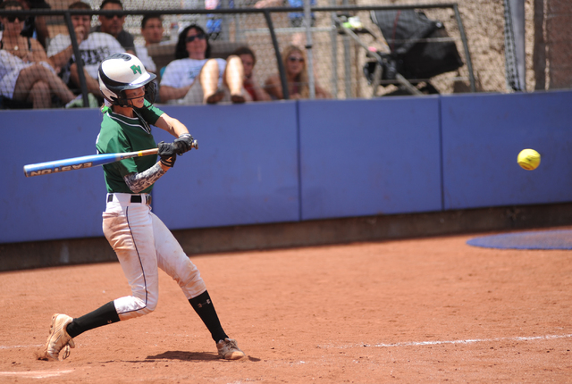 Palo Verde's Brooke Stover swings at a pitch during the Sunset Region championship gam ...