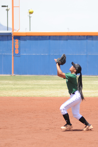 Palo Verde second baseman Melissa Lacro catches a pop fly during the Sunset Region champions ...