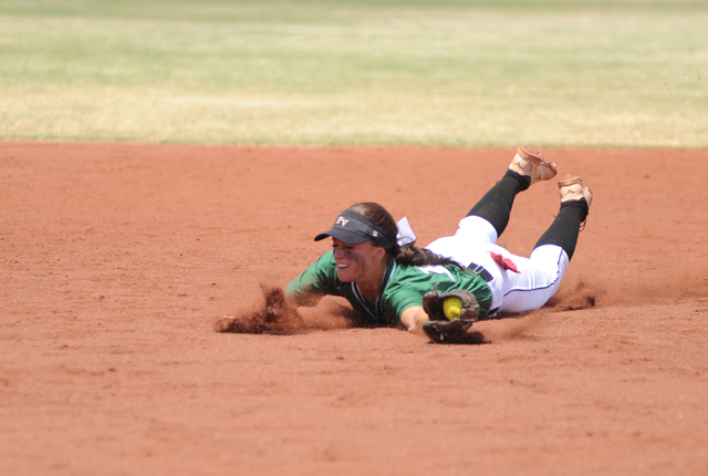 Palo Verde shortstop Haley Harrison dives and catches a pop fly during the Sunset Region cha ...