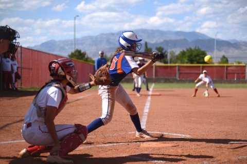 Bishop Gorman's Morgan Blanner (15) swings at a pitch against Arbor View during their ...