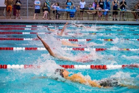 Swimmers compete during the Sunrise Region high school swim meet at the Bucky Buchanan Natat ...