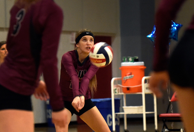 Pahrump Valley's Bethany Calvert gets under the ball during a high school volleyball g ...