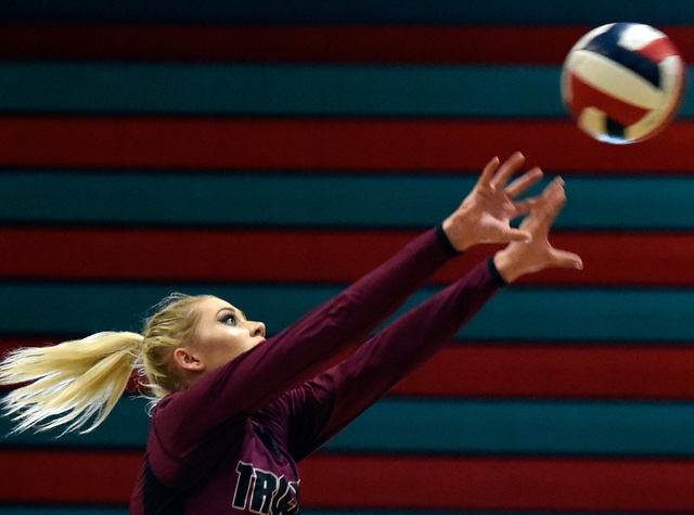 Pahrump Valley's Alexis Trieb hits the ball against Western during a high school volle ...