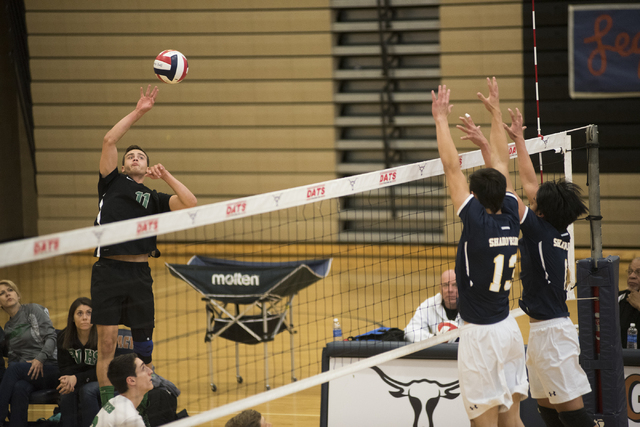 Palo Verde's Michael Simister (11) goes up to spike the ball against Shadow Ridge duri ...