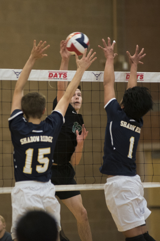 Palo Verde's Chandler Juilfs (12) goes up to spike the ball against Shadow Ridge&#8217 ...