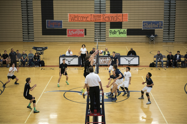 Palo Verde, left, plays against Shadow Ridge during their Sunset Regional volleyball semifin ...