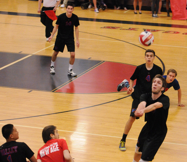 Valley's Jack Heavey (17) saves the ball during the Sunrise Region boys volleyball cha ...
